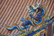 Holzschnitzerei am Konfuzius Tempel in Taipeh